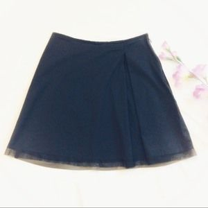 WHBM sz 6 Single Pleat A-Line Black Mini Skirt